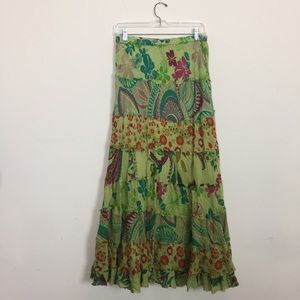 Dresses & Skirts - Flowy Multi Floral Pattern Skirt with raw Edges